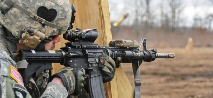 Capt. James Nardelli, part of a deploying Security Force Assistance Team with the 2nd Battalion, 502nd Infantry Regiment, 2nd Brigade Combat Team, 101st Airborne Division (Air Assault), fires at a target during a stress shoot training exercise at Fort Campbell's Range 40a, Feb. 16. The stress shoot training exercise conditions soldiers to effectively hit their targets in highly intense situations.